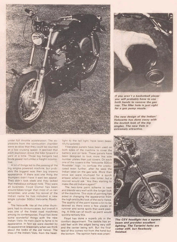 Indian Velocette magazine article p 1B